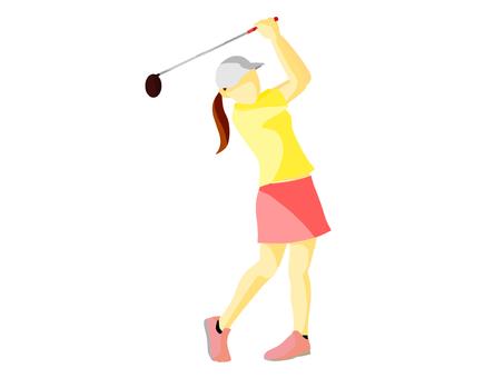 Athletes playing golf