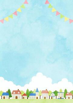 水彩風格藍天鎮背景垂直