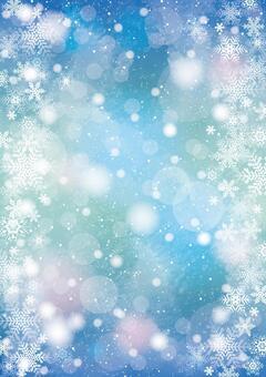雪と雪の結晶 背景 縦 ブルー