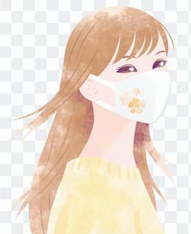 女人黃色與花卉面具