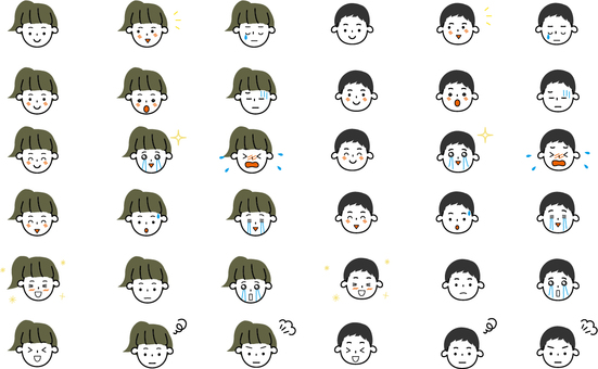 Various facial expression icons for children