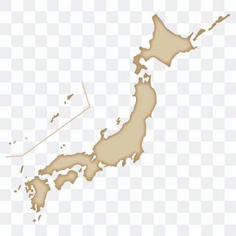 復古大氣的日本地圖_棕色