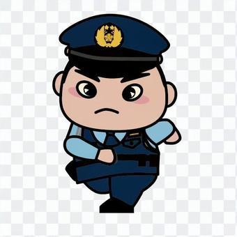 A running police officer