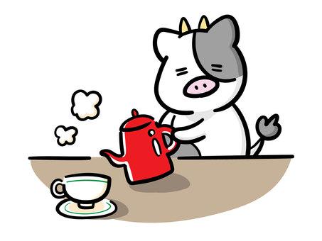 커피를 끓이는 황소 군의 일러스트