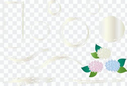 白色的銀色框架和繡球花
