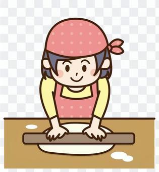 製作蕎麥麵的圍裙的孩子