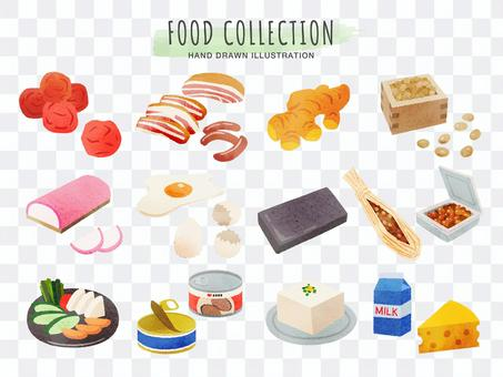 Hand-painted food illustration set