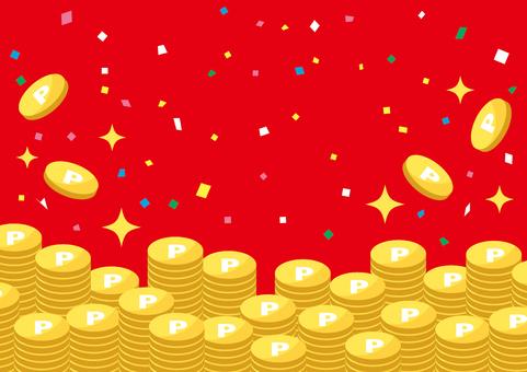 一堆金幣的插圖(紅色背景)