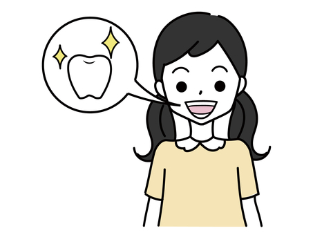 A child with shining healthy teeth
