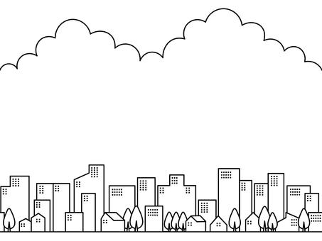 Cityscape and sky_monochrome