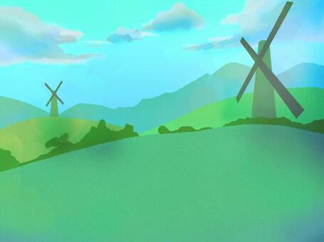 平原與風車平原中午