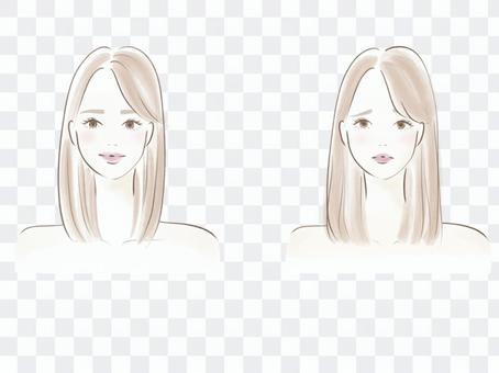 頭髮護理面部表情設置有光澤的頭髮和乾燥