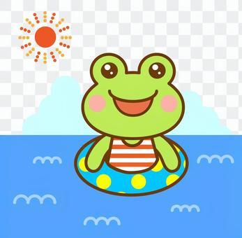 海 海水浴 プール カエル 蛙