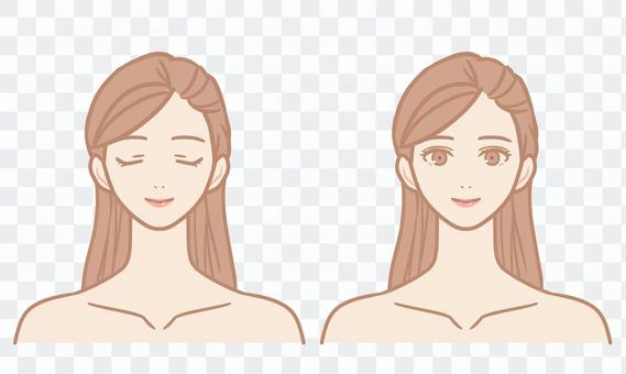 Female face (grated hair)