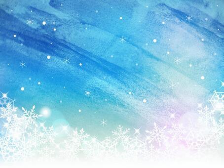 冬天/水彩畫框01 /雪花