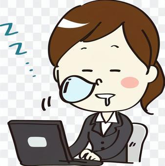 一個女人在工作時打瞌睡