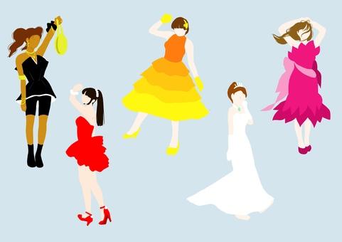 顏色silhouette_girl_whole body_dress