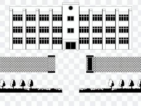 學校建設和學校門部分黑色和白色