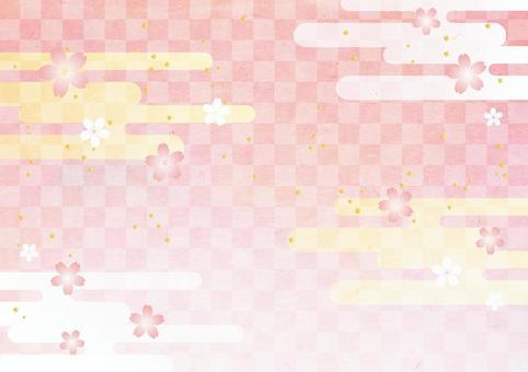 New Year _ Sakura _ Lattice _ Japanese paper background