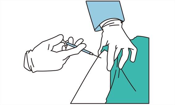 給注射的醫療保健專家的手