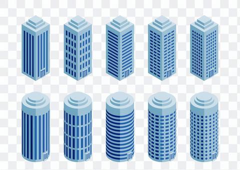 vector: Skyscraper set-rooftop processing