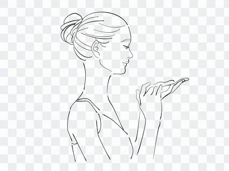女人塗奶油的配置文件
