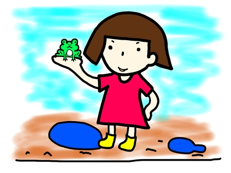 Girl who caught a frog