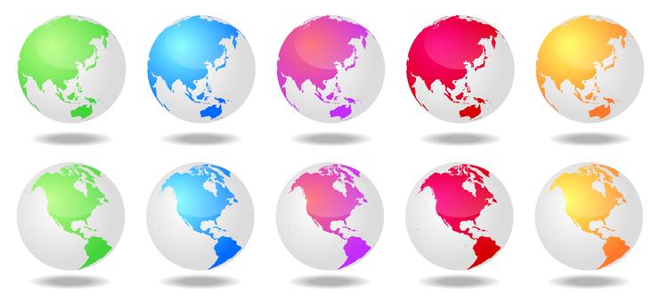 多彩的以日本和美國為中心的地球集