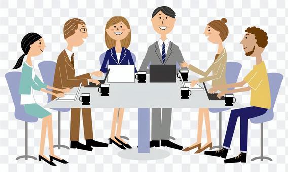 会議するビジネスパーソン男女6人