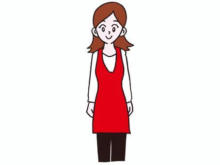 一個圍裙的女人