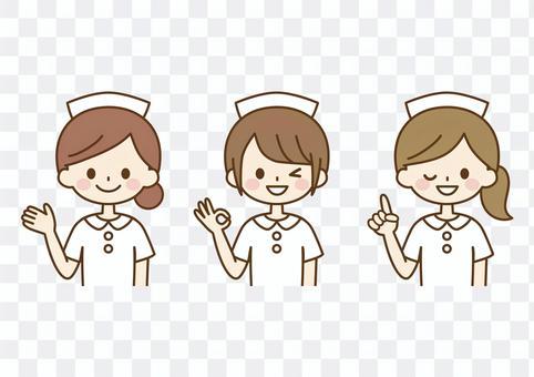看護師のポーズセット-キャップ