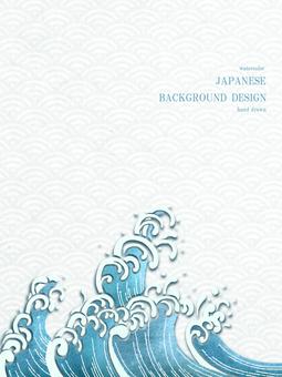 新年賀卡青海波日本背景 33