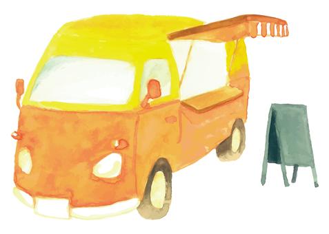 水彩橙色廚房車圖