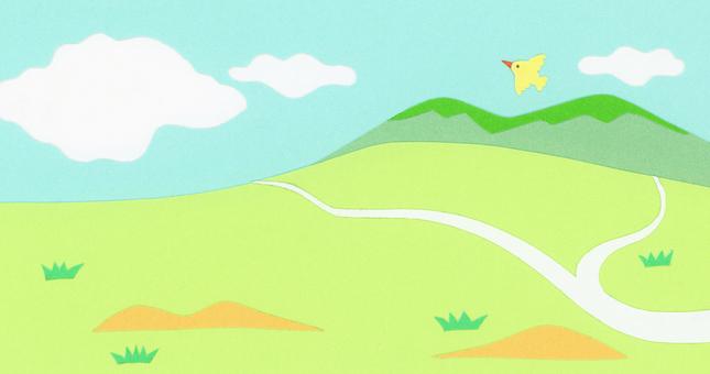 剪紙山水 一分為二的山路和天空