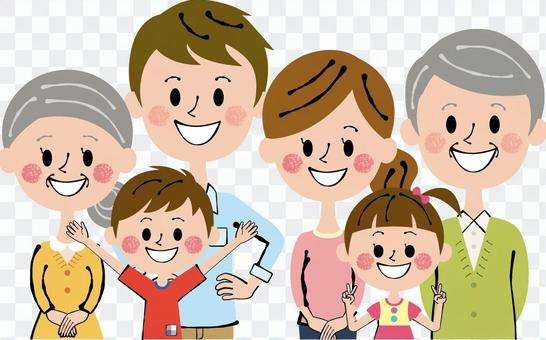Three households Nakayoshi Six people Family upper half 2