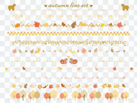 Cute hand-painted line set with the image of autumn