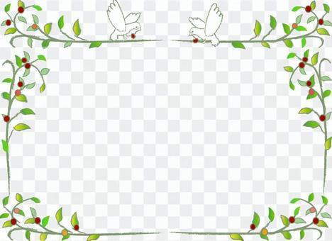 나뭇잎과 조류의 테두리 녹색 잎