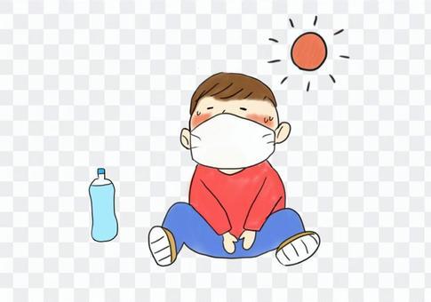 マスク少年熱中症