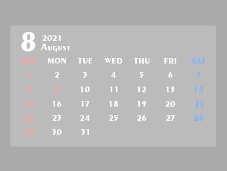 2021年日曆八月白色①
