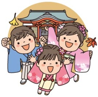 Shichigosan(麵包超人風格的集合背景可用)