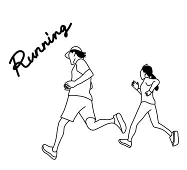 線條藝術男女跑步