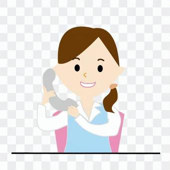 A woman on the phone