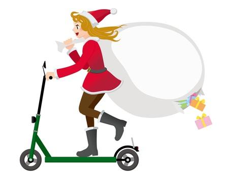 聖誕老人女兒騎電動踢腳板