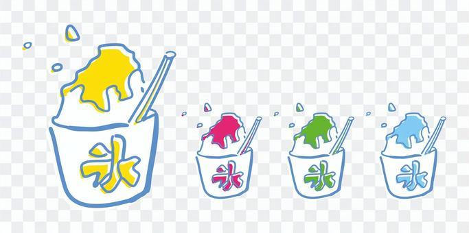 Shaved ice hand-drawn illustration set