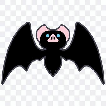Illustration of a cute bat with spread wings
