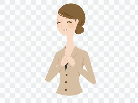 A woman with pleasing suit