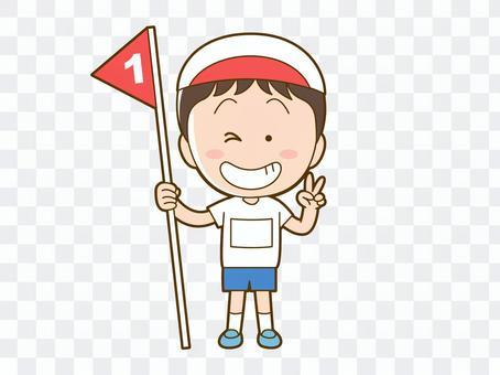 在運動會上獲得第一名的男孩_004