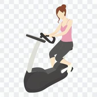 飲食 - 女子騎固定自行車(粉紅色)