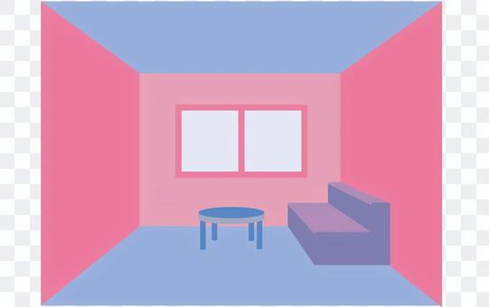 Living room (blue & pink)
