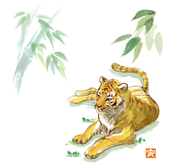 Hand-painted watercolor New Year's card tiger and bamboo with seal